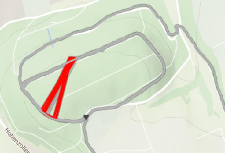 eigentlich normaler Track mit extremen Abweichungen (rot)